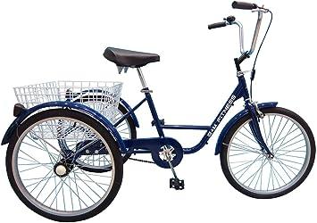 B+M Fitness Triciclo para Adultos – 24 Pulgadas Azul – con Freno ...