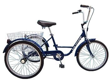 B+M Fitness Triciclo para Adultos - 24 Pulgadas Azul - con Freno de contrapedal, Cesta y - Timbre para Bicicleta: Amazon.es: Deportes y aire libre