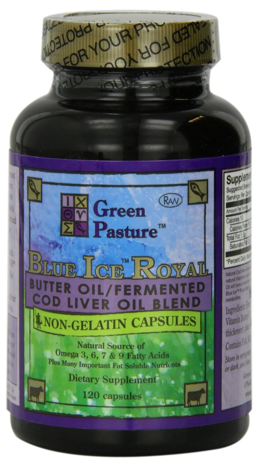 Blue Ice Royal Butter Oil / Fermented Cod Liver Oil Blend - 120 Capsules by Green Pastures
