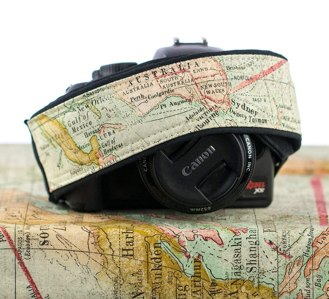 Old World Map Camera Strap 256