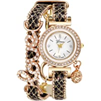 Womens Geneva Quartz Watches Ulanda-EU Unique Analog Sale Clearance Ladies Wrist Watch Female Watches for Women, Rhinestone Leather Band Business Fashionable Boho Wrist Watch y127