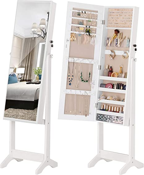 Luxfurni Jewelry Cabinet Standing Mirror Full Length Makeup Lockable Armoire Large Cosmetic Storage Organizer W Brush Holder White Home Kitchen