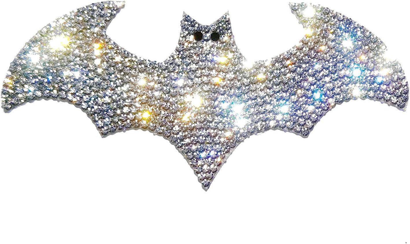 Silver Bling Bat Car Decal, Sparkly Crystal Rhinestone Waterproof Sci-fi Sticker 4.5'' Height