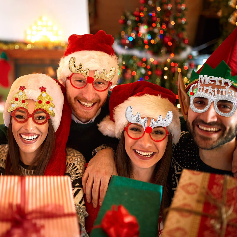 Estilo B Boao 12 Pares Vasos de Navidad Monturas Gafas 3D Novedad Gafas de Fiesta de Navidad para Adultos Mujeres Fotos Fotograf/ía Talla /Única para Mayor/ía de Personas