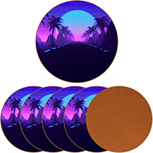 6-Pack Coasters for Drinks, 80'S Scene Synthwave and Retrowave Music Holiday Mug Cup Mats Pad for Housewarming Bar Decor