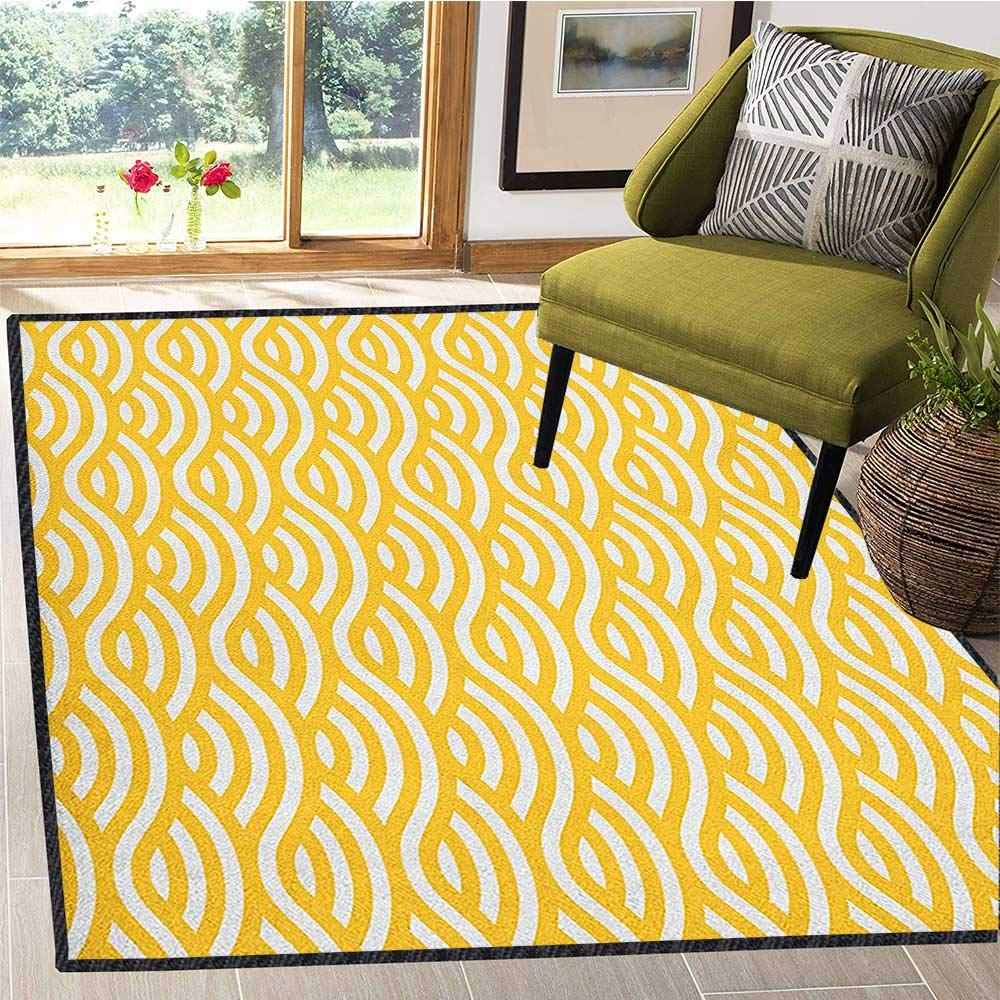 Yellow and White Modern Area Rug with Non-Skid,Horizontal Abstract Sea Ocean Waves Summer Beach Coast Holiday Theme Anti-Static,Water-Repellent Marigold White 67''x79'' by Philip C. Williams
