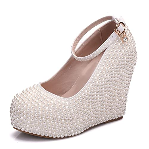 85392834598 Minishion Womens Hidden High Platform Pearl Beading Wedge Heel Ivory  Wedding Evening Shoes US 4