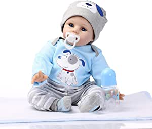 Reborn Baby doll Boy Look Real Silicone Blue Outfit 22 inches