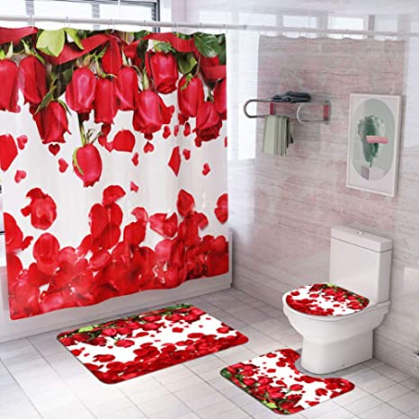 Amazon Com Wang Jess 4 Pcs Valentines Day Bathroom Set Rose Petal Print Waterproof Toilet Seat Cover Bathtub Rug Shower Curtain Set For Valentines Day Bathroom Decorations Kitchen Dining
