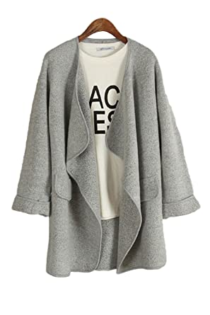 Zerlar Open Front Loose Trench Coat Outwear Waterfall Cardigan ...
