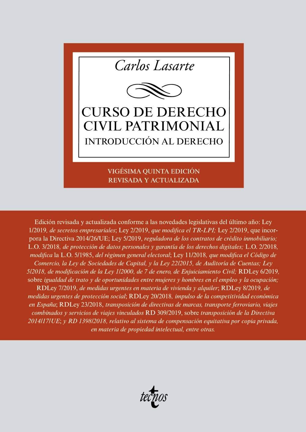 Curso de Derecho Civil patrimonial: Introducción al Derecho Derecho - Biblioteca Universitaria De Editorial Tecnos: Amazon.es: Lasarte, Carlos, Leonsegui Guillot, Rosa Adela: Libros