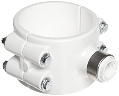 Spears 467E-SR Series PVC Clamp-On Saddle with EPDM O-Ring, Zink Bolt,  Stainless Steel Reinforced Outlet, Schedule 40, White, 2