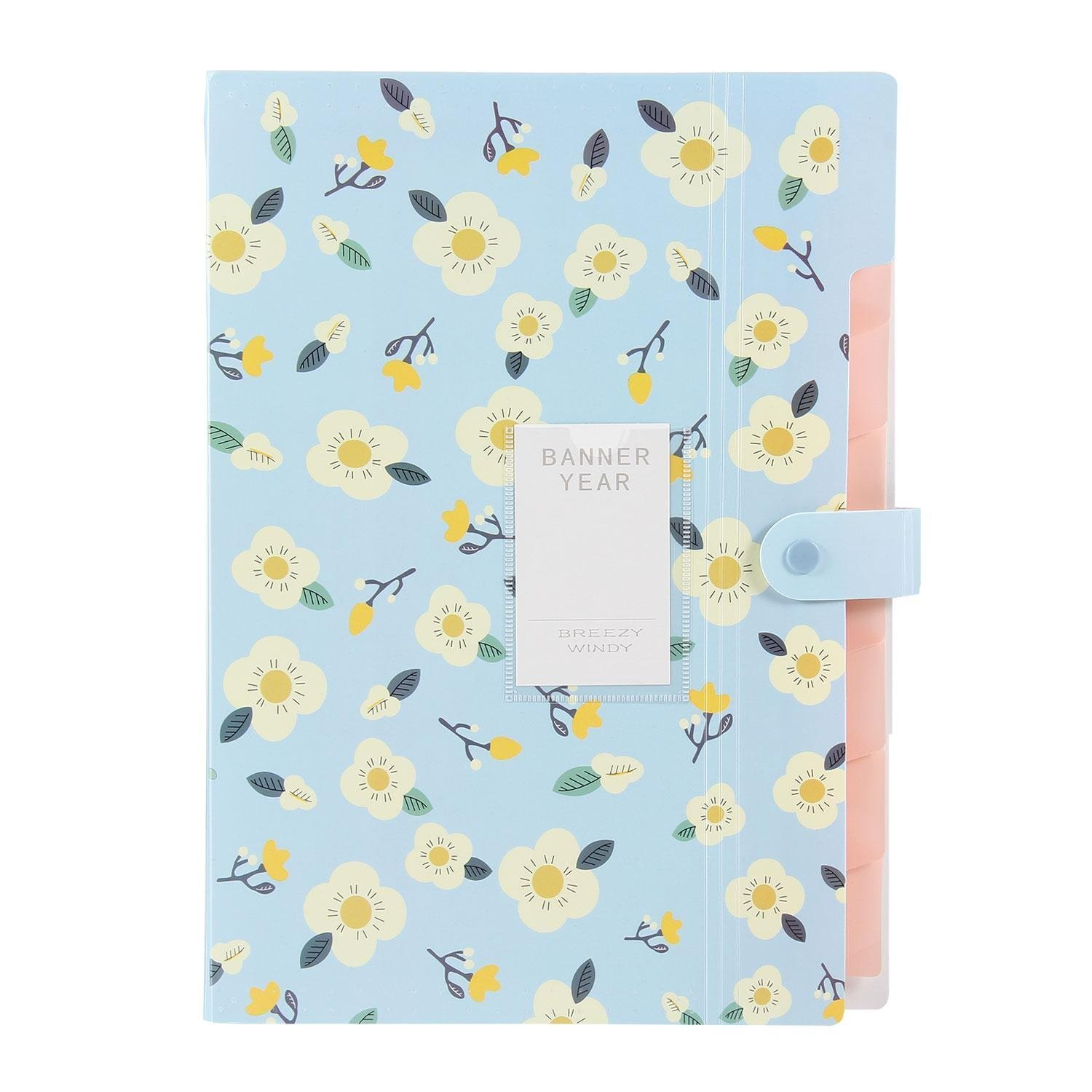 Expanding File Folder - AZSTAR Floral Printed Style Accordion A4 Letter Size File Document Organizer, 8 Pockets(Blue)