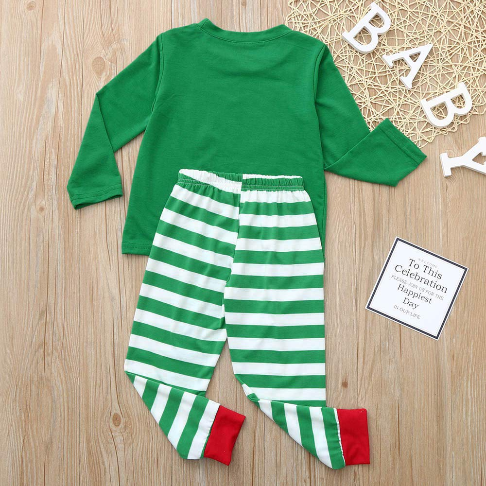 sunnymi Christmas Mom Daddy Kids Baby Boy Girl Tops Striped Blouse Pants Family Pajamas Sleepwear Matching Set