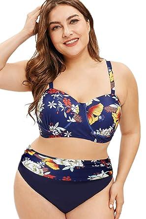 Volantes Alta Cintura Set Bañador Conjunto De Bikinis Mujer Talla Grande Traje De Baño Verano