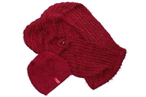 Completo donna sciarpa girocollo + cappello ROMEO GIGLI bordeaux box confezione