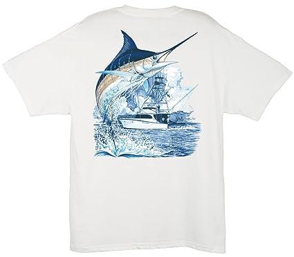 Guy Harvey Men's Marlin Boat T-Shirt, White, ...