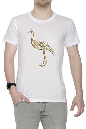 Or Homme D'équipage T Courtes Shirt Cou Autruche Blanc Manches OkZXiuP