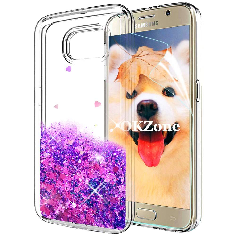 OKZone Coque Galaxy S6 [avec Film de Protection é cran HD], Luxe Flottant Liquide Etui Bling Conception Cré ative Sparkly TPU 3D Coques Housse Telephone é tui pour Samsung Galaxy S6 (Cœ ur Violet) OKZ-YTK-TPU-1017017