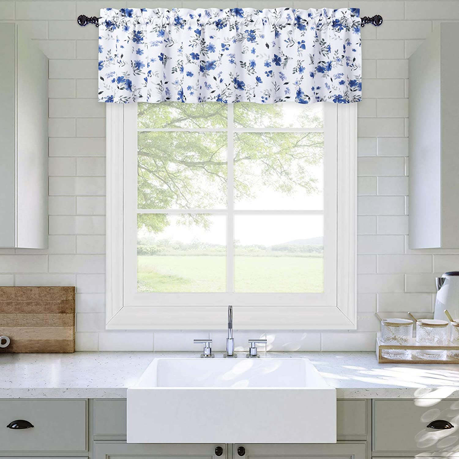 Haperlare Navy Blue Valance Curtain for Bathroom, FloralValance Curtains for Windows Thick Watercolor Flower Leaf Pattern Farmhouse Kitchen Valance Curtain Cafe Curtains, 54