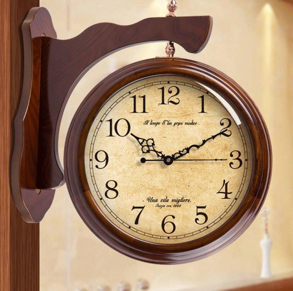 TXXM アメリカのソリッドウッドの大きな両面時計リビングルームヨーロッパの新しい中国のレトロミュートクォーツ時計の両側に (色 : C, サイズ さいず : 20 inches) B07FB2L648 20 inches C C 20 inches
