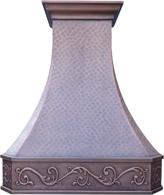 "SINDA Hammered Copper Kitchen Oven Hood with Efficient Range Hood Insert, H3LW3036, 30""Wx36""H"