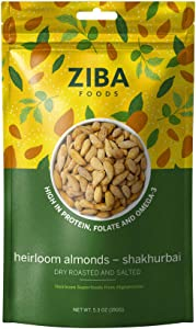 Ziba Foods Heirloom Roasted and Salted Shakhurbai Almonds | Non-GMO, Vegan, Whole 30 Friendly & Paleo | Low Calorie Healthy Snack