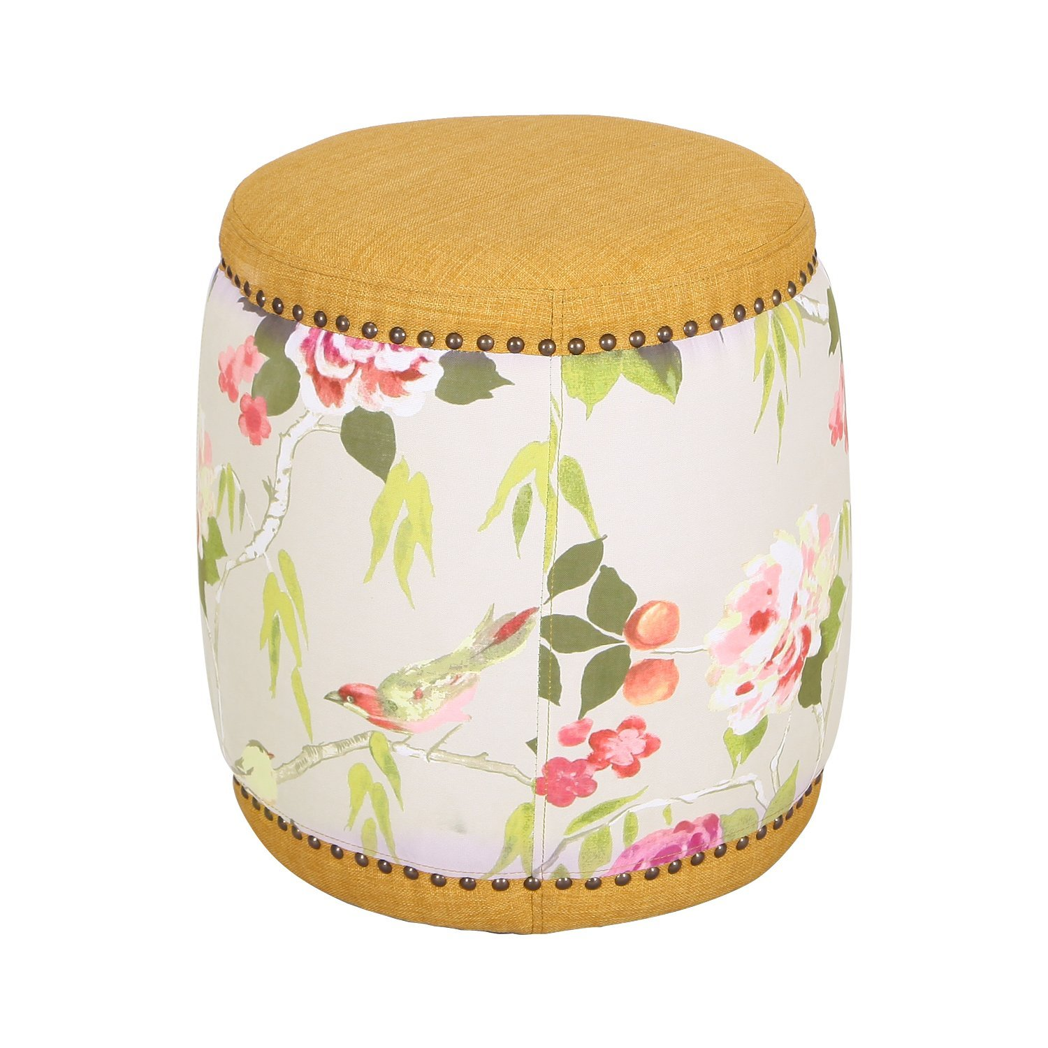 EDECO Fabric Drum Ottoman Chair Footstools Foot Stool Rest With Flower Pattern (Yellow)