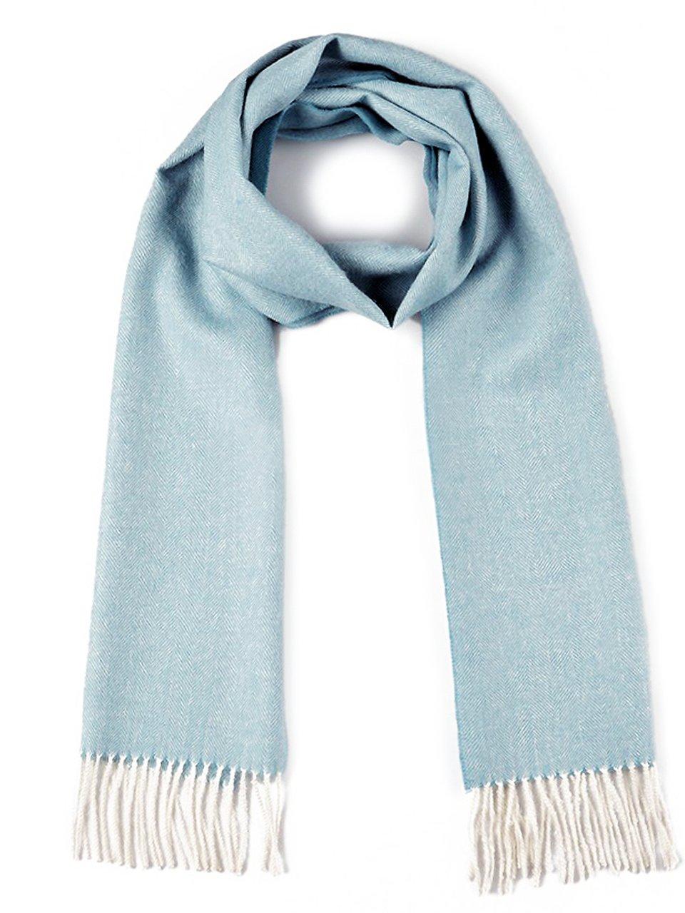 Herringbone Alpaca Scarf - 100% Baby Alpaca (Light Blue Herringbone)
