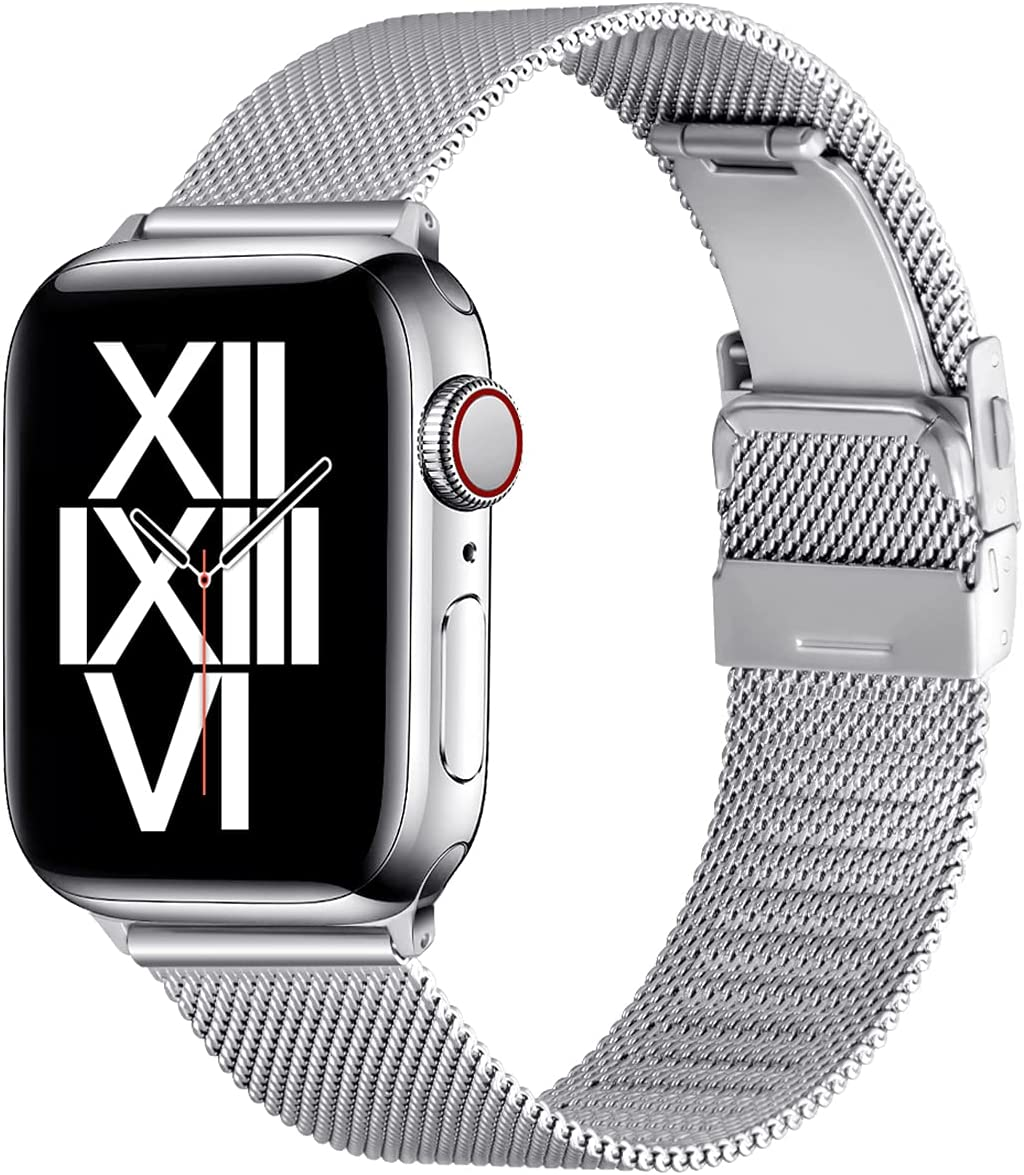 ZXCASD Compatible with Apple Watch Bands 44mm 42mm 40mm 38mm Folding Buckle Mesh Adjustable Strap Wristband Stainless Steel Loop for iWatch Series SE/6/5/4/3/2/1 for Men Women(Silver,38mm 40mm)