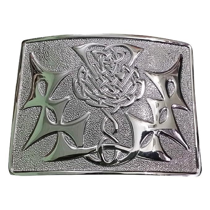 Sturdy Antique Chrome Celtic Serpent Kilt Belt Buckle