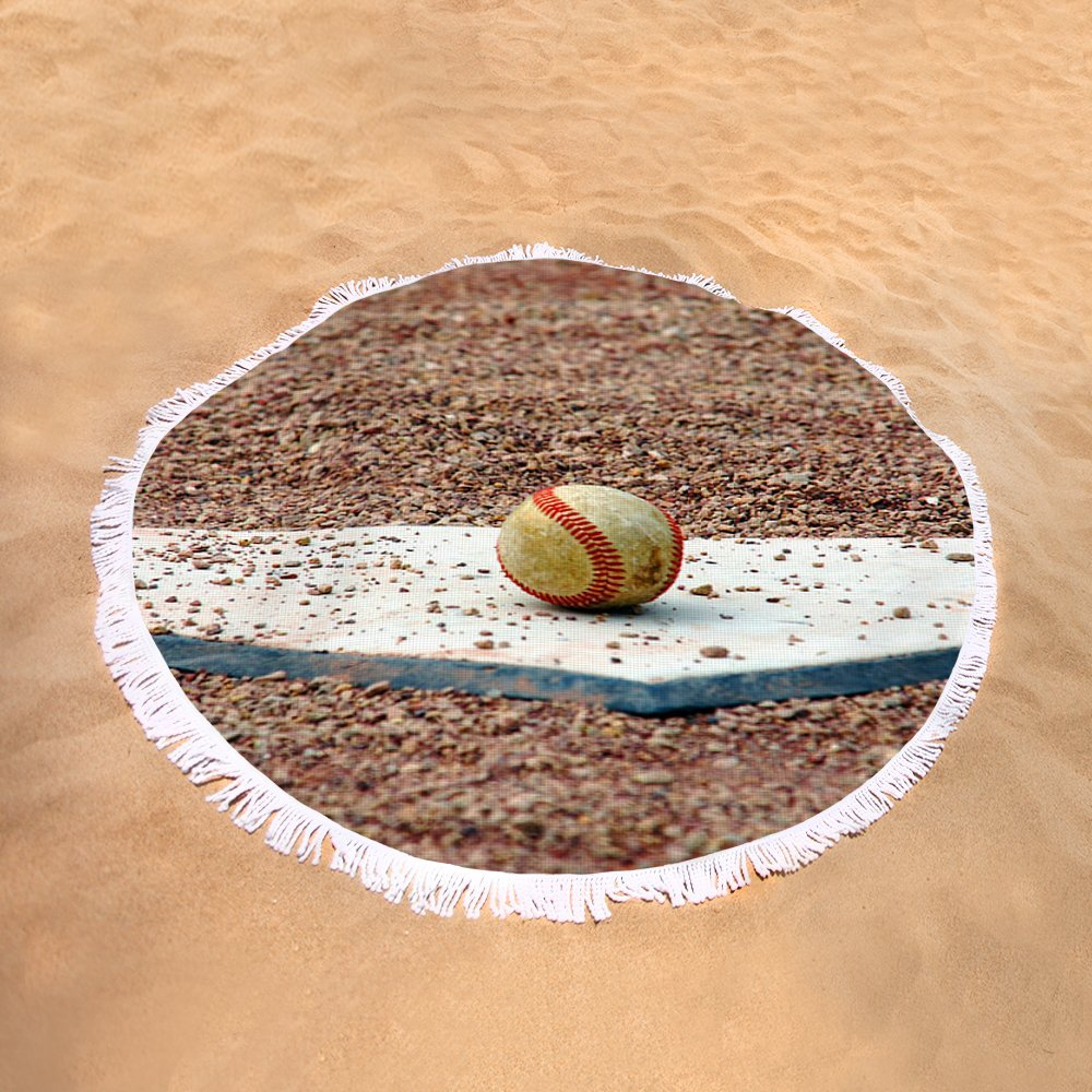Pixels Round Beach Towel With Tassels featuring ''The Ball Of Field Of Dreams'' by Susanne Van Hulst