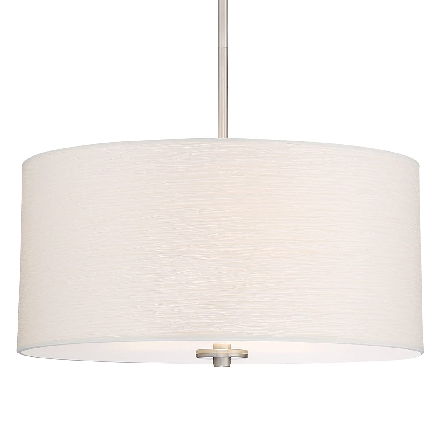 "Kira Home Pearl 18"" Contemporary 3-Light Large Drum Pendant Chandelier + Glass Diffuser, Brushed Nickel Finish"