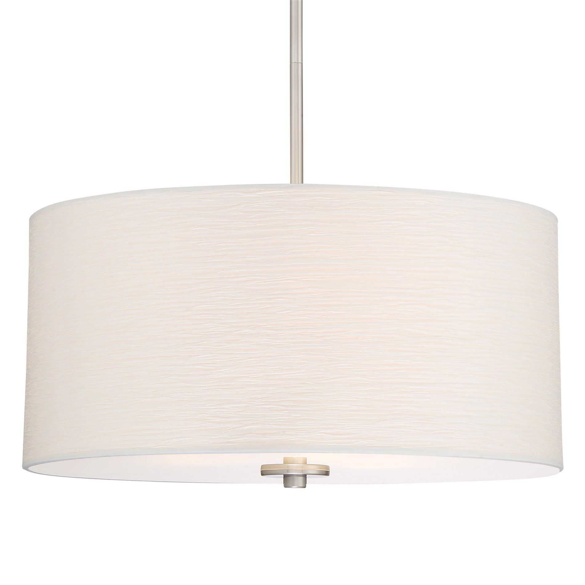 Kira Home Pearl 18'' Contemporary 3-Light Large Drum Chandelier + Glass Diffuser, Brushed Nickel Finish