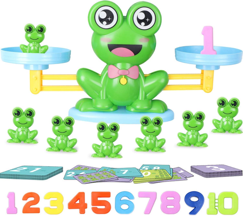Hiveseen JuguetesEducativos paraNiños, 64Pcs Rana Equilibrio JuguetedeMatemáticas, Juguetes Montessori para Niños y Niñas