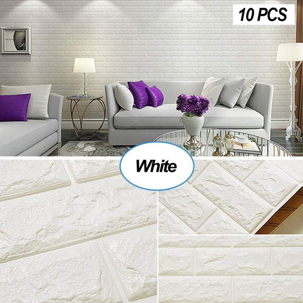 Masione 3D Self-Adhesive Wall Panels Faux Foam Bricks Wallpaper for TV Walls/Sofa Background Wall Decor (Woodgrains-10 Pieces 58.13 sq.ft)