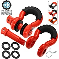 """motormic Unique D Ring Shackles 2 Pack RED - 3/4"""" Clevis with 7/8"""" Pin Safety Max 57,000 lbs Break Point - 2 Black Isolators, 8 Washers - Heavy Duty use for Tow Strap, Winch, Off Road, Jeep Towing"""