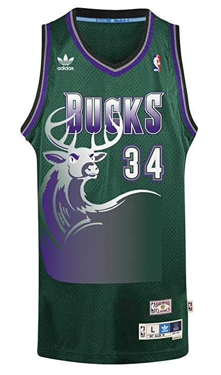 ce7f8e227399 Adidas Men s Milwaukee Bucks NBA Ray Allen Swingman Jersey Green Medium