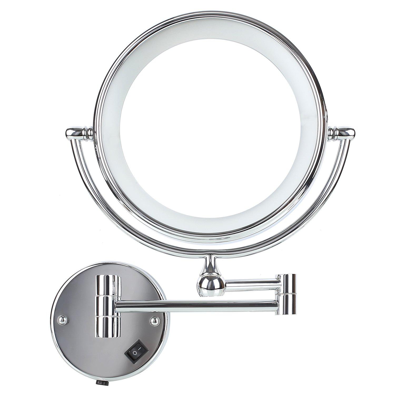 DECKEY Miroir de Maquillage de Double Face Super Clair avec Grossissement 5x, Miroir Salle de Bain avec 21 Éclairages LED et Base Ventouse Réglable 360º Pour Salle de Bains, Salon ,Chambre