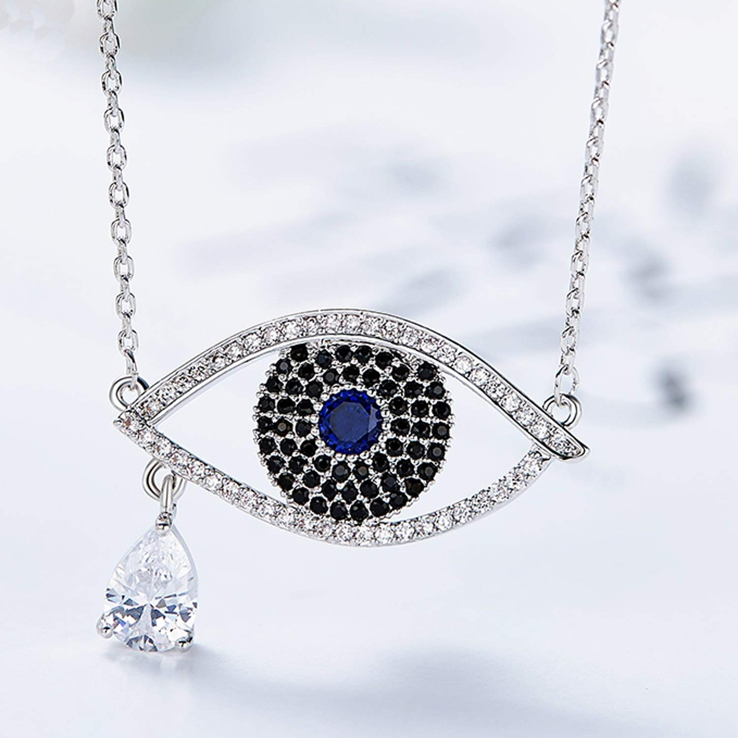 Epinki Shiny Women Necklace Eyes Shape Pendant Chain with Black Cubic Zirconia
