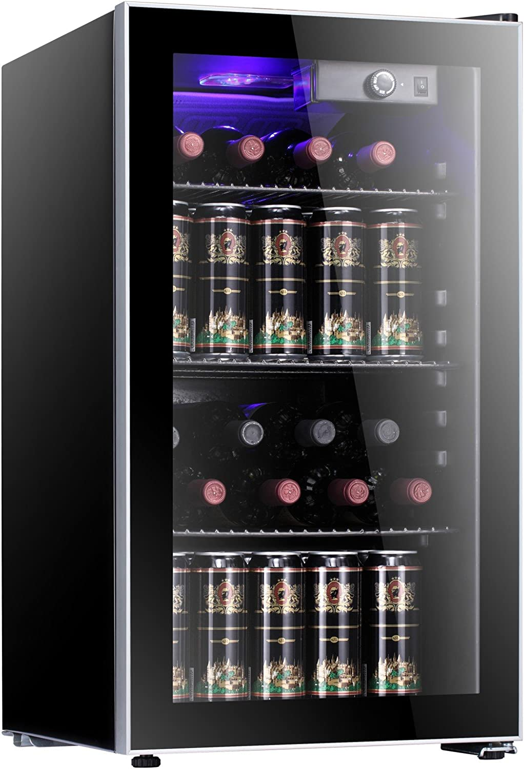 Antarctic Star 26 Bottle Wine Cooler Cabinet BeverageRefrigerator Small Mini Red White Wine Cellar Beer Soda Counter Top Bar Fridge Quiet Operation Compressor Adjust Temperature Freestanding Black