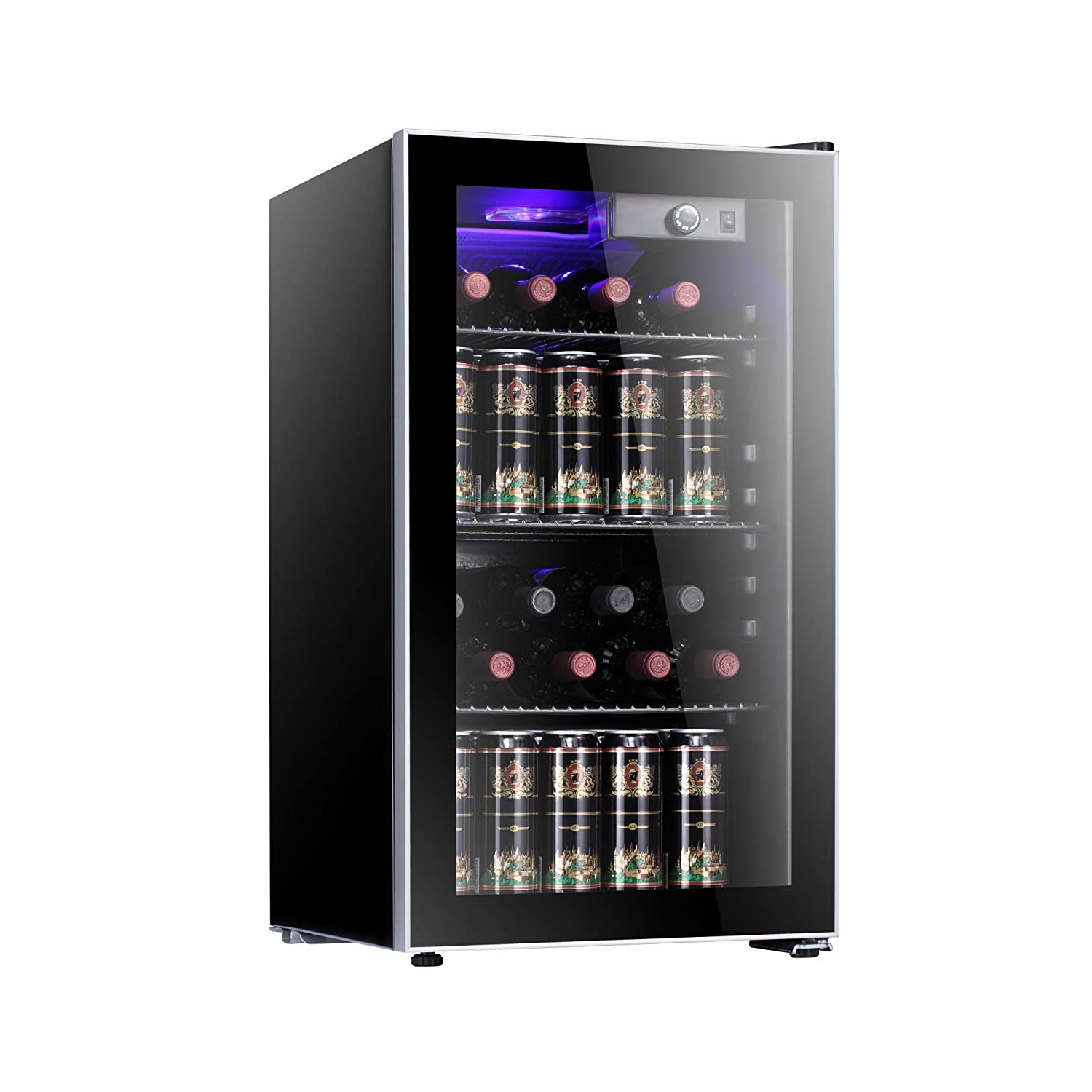Antarctic Star 26 Bottle Wine Cooler/Cabinet Refigerator Small Wine Cellar Beer Counter Top Fridge Quiet Operation Compressor Freestanding Black