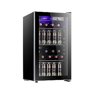 Antarctic Star 26 Bottle Wine Cooler/Cabinet Refigerator Small Wine Cellar Beer Counter Top Fridge Quiet Operation Compressor Freestanding Black