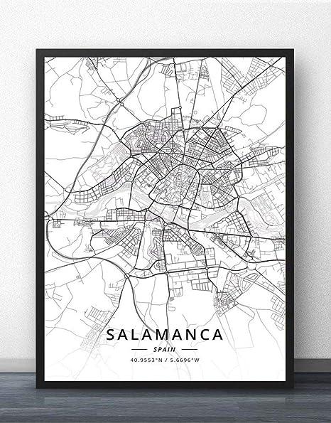 ZWXDMY Impresión De Lienzo,España Salamanca Mapa De La Ciudad En Blanco Y Negro Texto Minimalista Abstracto Lienzo Impresión Póster Mural Pintura Oficina De Estudio Decoracion,70×100Cm.: Amazon.es: Hogar