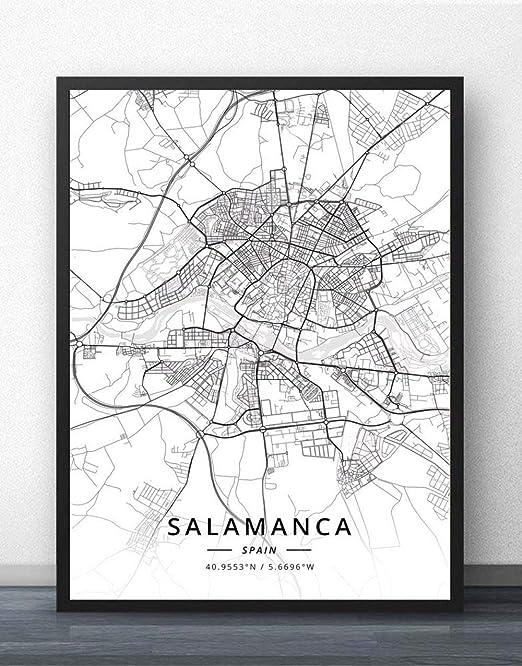 ZWXDMY Impresión De Lienzo,España Salamanca Mapa De La Ciudad ...