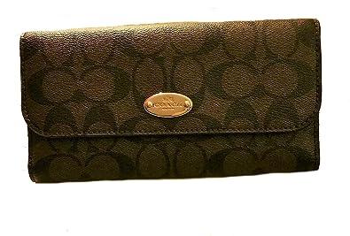 787d72f0ab6b2 Coach Signature PVC Coated Canvas Checkbook Wallet F52681 Dark Brown ...