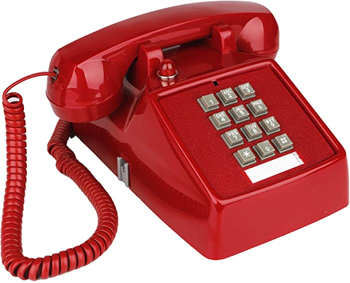 YOPAY Single Line Corded Desk Telephone, Home Emergency Intuition Amplified Retro Phone, Classic Dial Button Phone, Red