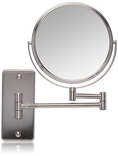 Jerdon, Nickel JP7506NMT 5X-1X Magnification Mount Mirror with Oversized Wall Bracket, 8 Diameter