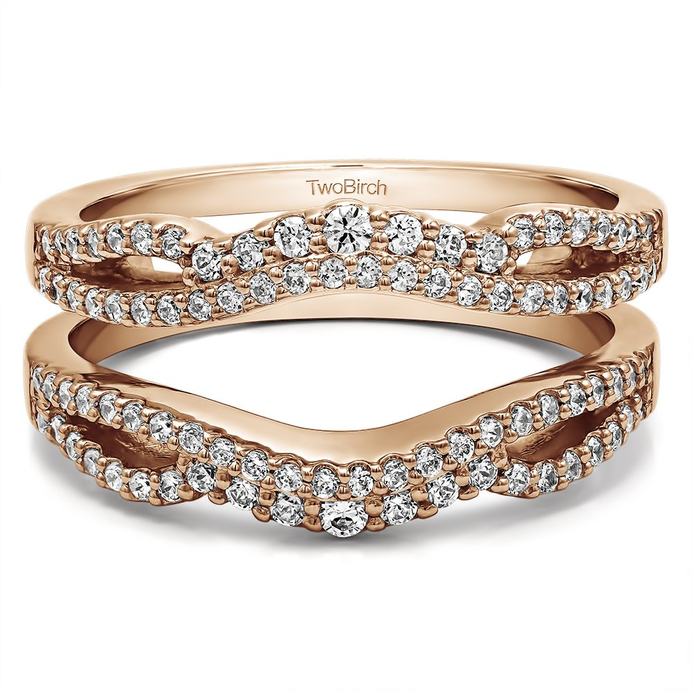 TwoBirch Double Infinity Wedding Ring Guard Enhancer with 0.49 carats of Cubic Zirconia in Rose Gold Plated Sterling Silver