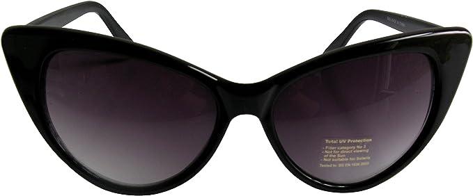 Sonnenbrille Marilyn im Stil der 1950er-Jahre Katzenaugen-Effekt Schwarzes Gestell